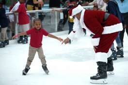 Hundreds of children from the Third Ward participate in the Fourth Annual Year of Joy holiday skating party at Discovery on Monday, Dec. 9, 2019, in Houston.