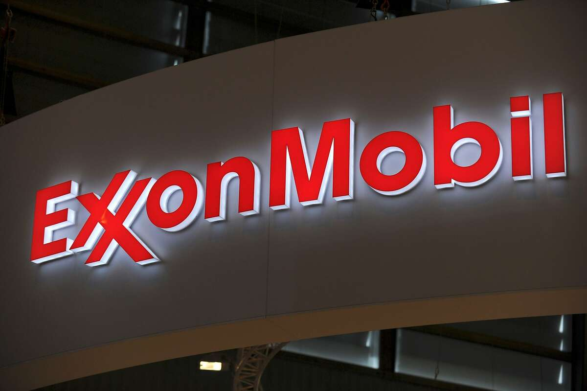(FILES) In this file photo taken on June 2, 2015 the logo of US oil and gas giant ExxonMobil is seen during the World Gas Conference exhibition in Paris.