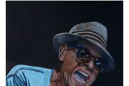 """Painting of David """"Lefty"""" Foster by artist John Herz, from a photo by Herz."""