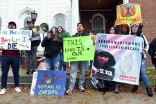 Wilbur Cross High School students, CT Students for a Dream and community members rally in front of Superior Court in Milford Tuesday to protest the detention of Wilbur Cross High School student Mario Aguilar Castanon by ICE.