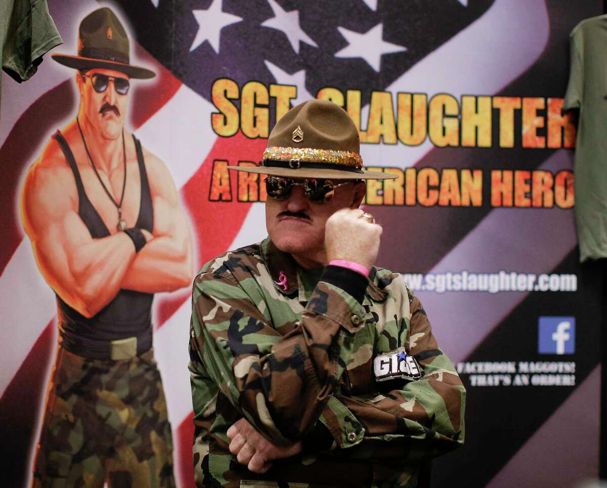 WWE Hall of Famer Sgt. Slaughter will be at the Wrestling Shop Trademark & Collectibles inside Wonderland of the Americas on Saturday for a meet and greet with fans.
