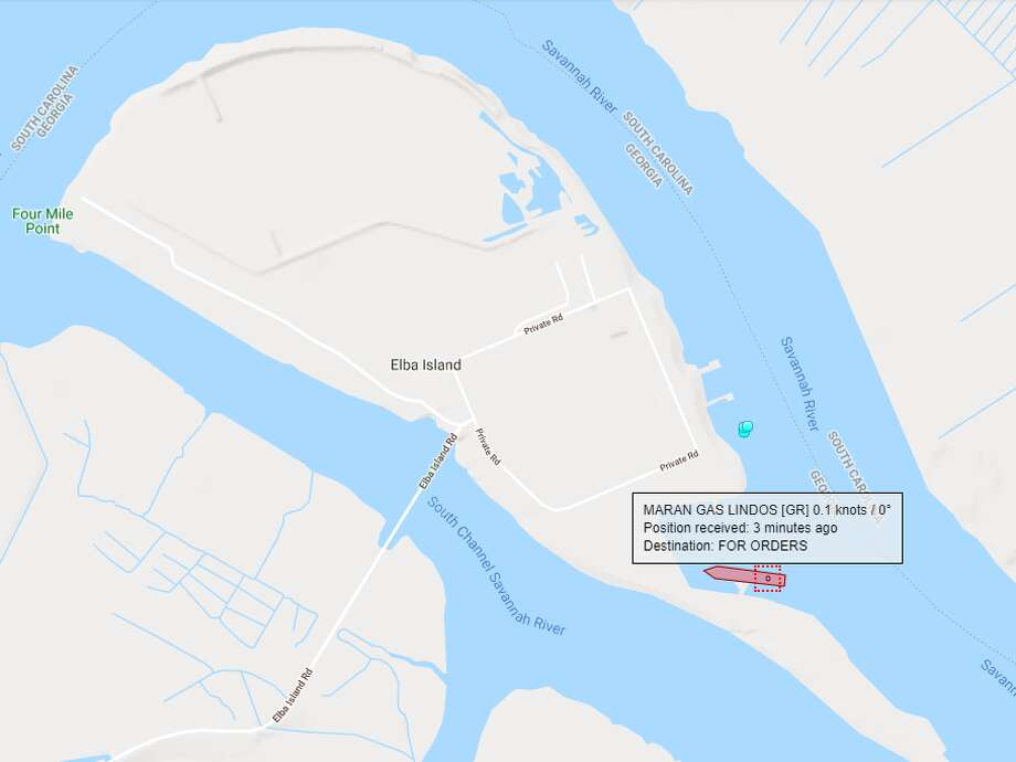 All eyes in the liquefied natural gas industry are on Kinder Morgan's Elba Island LNG export terminal in Georgia where a tanker has docked and observers are waiting to see if it will leave with the facility's first export shipment. Photo: MarineTraffic