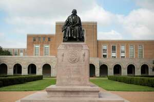 The statue of Rice University founder William Marsh Rice is shown on campus on Friday, June 7, 2019 in Houston.