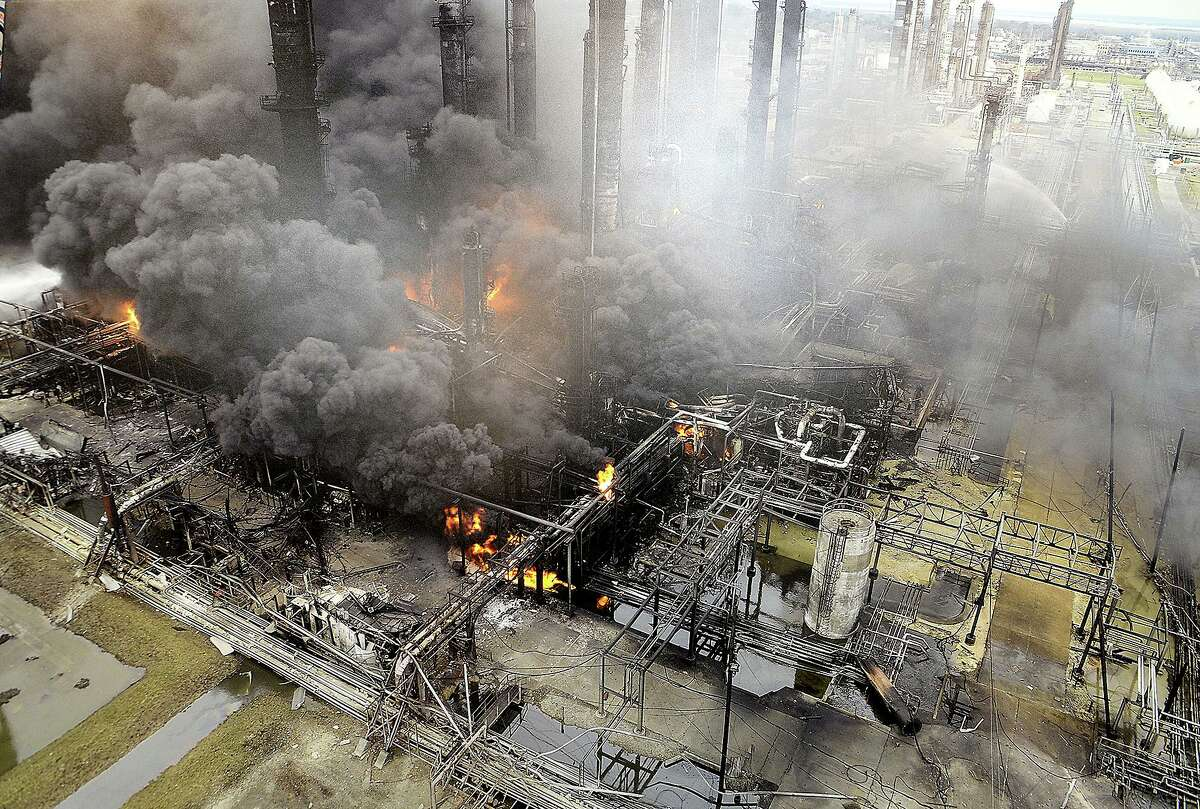Aerial photos taken durng the ongoing fire following last week's explosion at the TPC Group chemical plant in Port Neches were on display during a press conference with members of the U. S. Chemical Safety Board Thursday in Beaumont. Photo taken Thursday, December 5, 2019 Kim Brent/The Enterprise