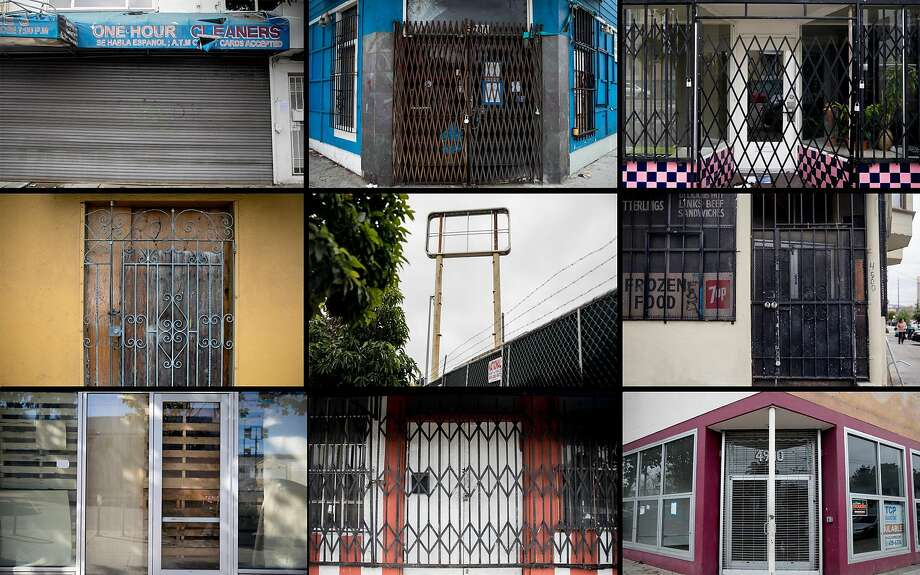 Shuttered storefronts in the Bayview neighborhood. Photo: Jessica Christian / The Chronicle
