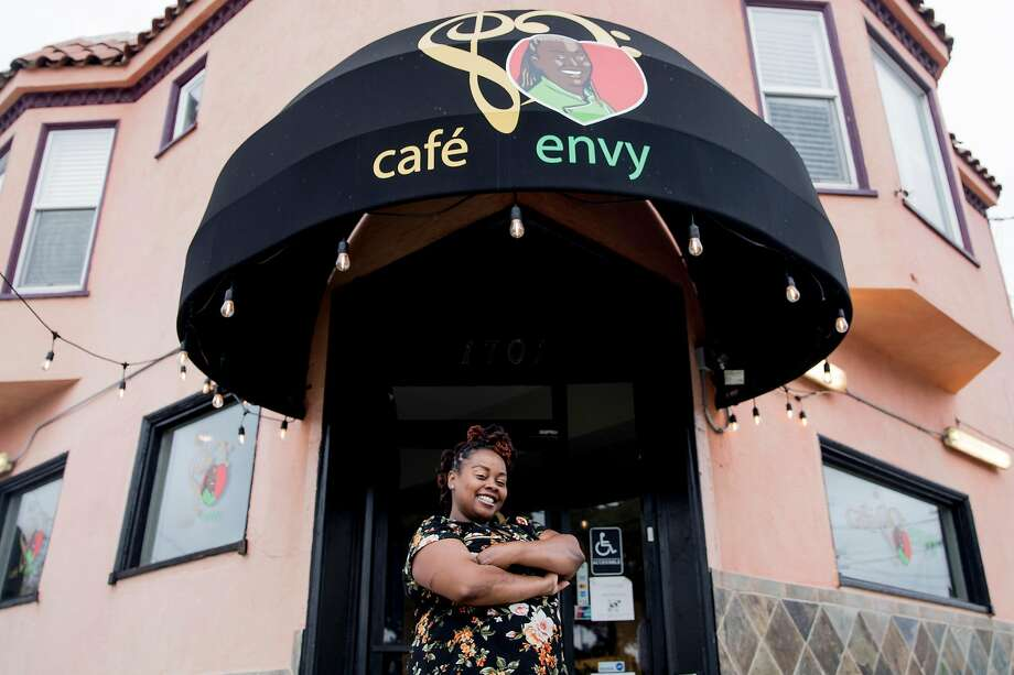 Cafe Envy owner April Spears poses for a portrait outside Cafe Envy in the Bayview neighborhood of San Francisco, Calif. Thursday, Dec. 5, 2019. Photo: Jessica Christian / The Chronicle