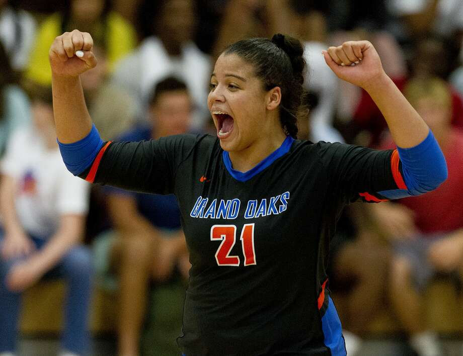 FILE PHOTO -- Grand Oaks outside hitter Fallon Thompson (21) reacts after an ace during the second set of a non-district high school volleyball match at Oak Ridge High School, Tuesday, Aug. 20, 2019, in Oak Ridge. Photo: Jason Fochtman, Staff Photographer