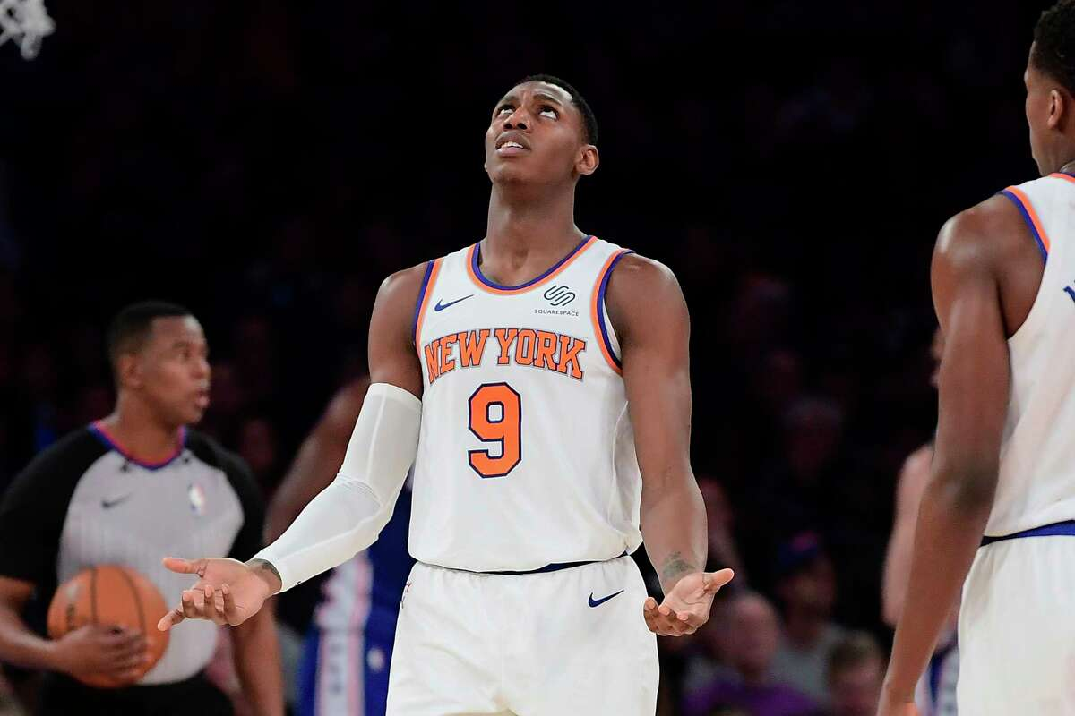 New York Knicks forward RJ Barrett (9) reacts to a foul call during the second half of the team's NBA basketball game against the Philadelphia 76ers on Friday, Nov. 29, 2019, in New York. (AP Photo/Steven Ryan)