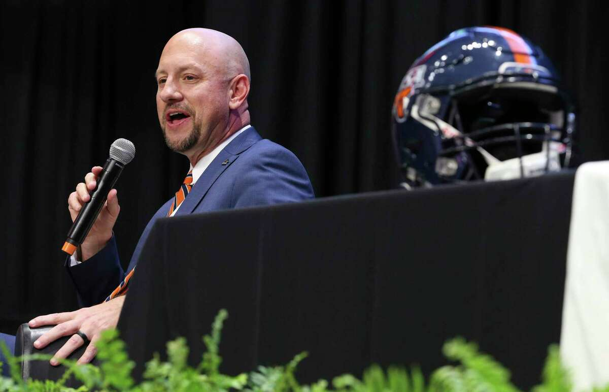UTSA introduces its new head football coach, Jeff Traylor, in a public announcement at the Alamodome on Tuesday, Dec. 10, 2019. With introductions by UTSA President Dr. Taylor Eighmy and UTSA Vice President for Intercollegiate Athletics Lisa Campos, Traylor spoke with fervor about the path that led him to UTSA. With past and present players in the audience, Traylor also touched on his coaching philosophy and the steps he will take to help the Roadrunners succeed under his helm. Traylor is the third coach in the school's eighth year in collegiate football.