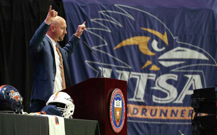 UTSA introduces its new head football coach, Jeff Traylor, in a public announcement at the Alamodome on Tuesday, Dec. 10, 2019. With introductions by UTSA President Dr. Taylor Eighmy and UTSA Vice President for Intercollegiate Athletics Lisa Campos, Traylor spoke with fervor about the path that led him to UTSA. With past and present players in the audience, Traylor also touched on his coaching philosophy and the steps he will take to help the Roadrunners succeed under his helm. Traylor is the third coach in the school's eighth year in collegiate football. Photo: Kin Man Hui, San Antonio Express-News / Staff Photographer / **MANDATORY CREDIT FOR PHOTOGRAPHER AND SAN ANTONIO EXPRESS-NEWS/NO SALES/MAGS OUT/ TV OUT