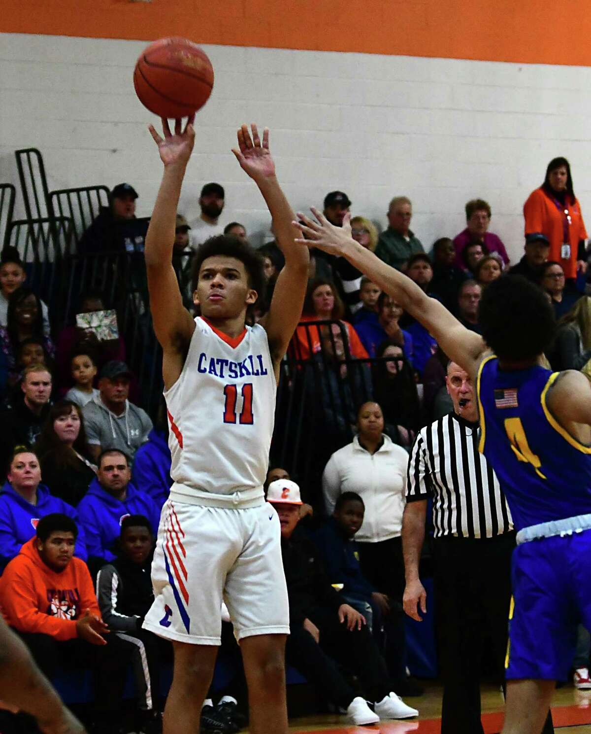 Catskill's Leviticus Johnson puts up a shot against Hudson during a basketball game on Tuesday, Dec. 10, 2019 in Catskill, N.Y. (Lori Van Buren/Times Union)