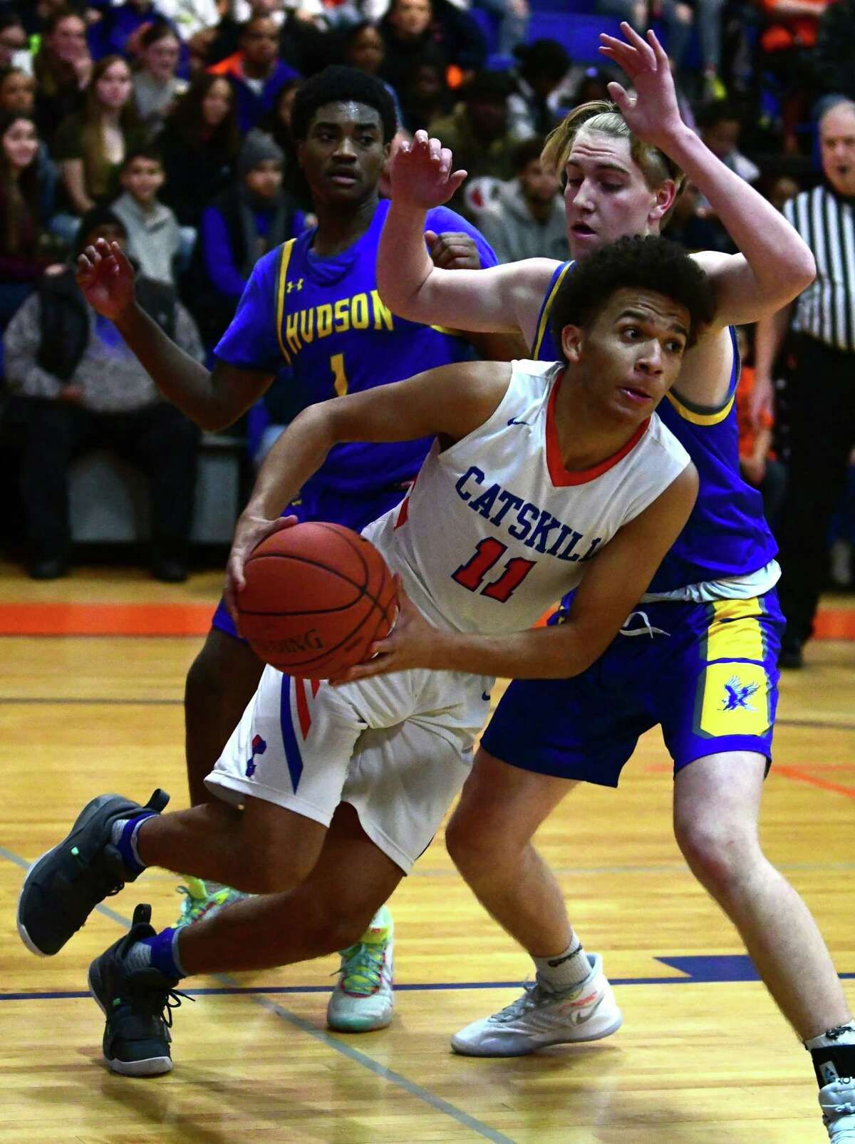 Catskill's Leviticus Johnson drives to the basket against Hudson during a basketball game on Tuesday, Dec. 10, 2019 in Catskill, N.Y. (Lori Van Buren/Times Union)