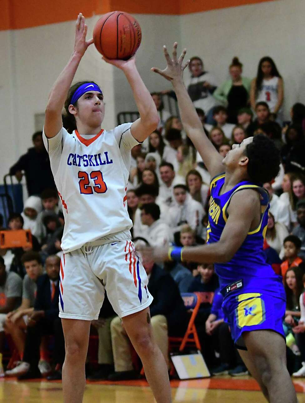 Catskill's Lavon Fernandez puts up a shot against Hudson during a basketball game on Tuesday, Dec. 10, 2019 in Catskill, N.Y. (Lori Van Buren/Times Union)