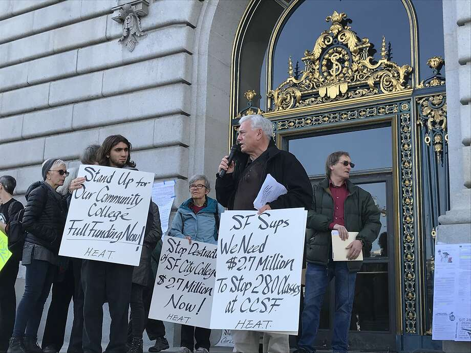 Faculty and students protest the elimination of hundreds of classes from City College of San Francisco, including almost the entire program aimed at older adults. Photo: Nanette Asimov / The Chronicle