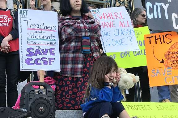 Young and old gathered on the steps of City Hall in San Francisco Tuesday to protest the elimination of hundreds of classes across all disciplines at City College of San Francisco.