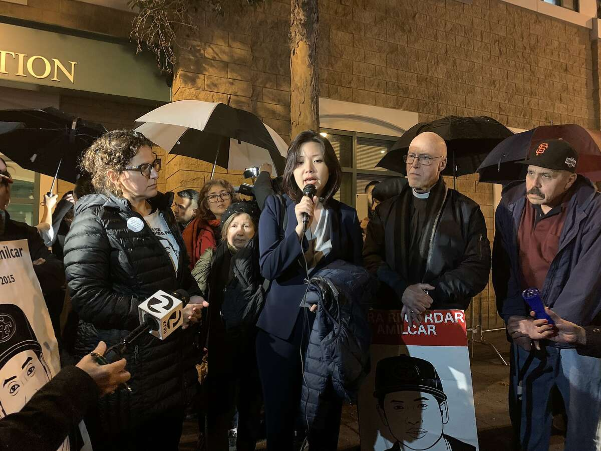 Tenant rights attorney Dyne Biancardi joined San Francisco-based community advocates and more than a dozen protesters outside of the SanFrancisco Police Department's Mission Station on Tuesday, Dec. 10, 2019 in a demonstration against a police shooting that critically injured a man in the Mission District. The shooting occurred on Saturday, Dec. 7, 2019.
