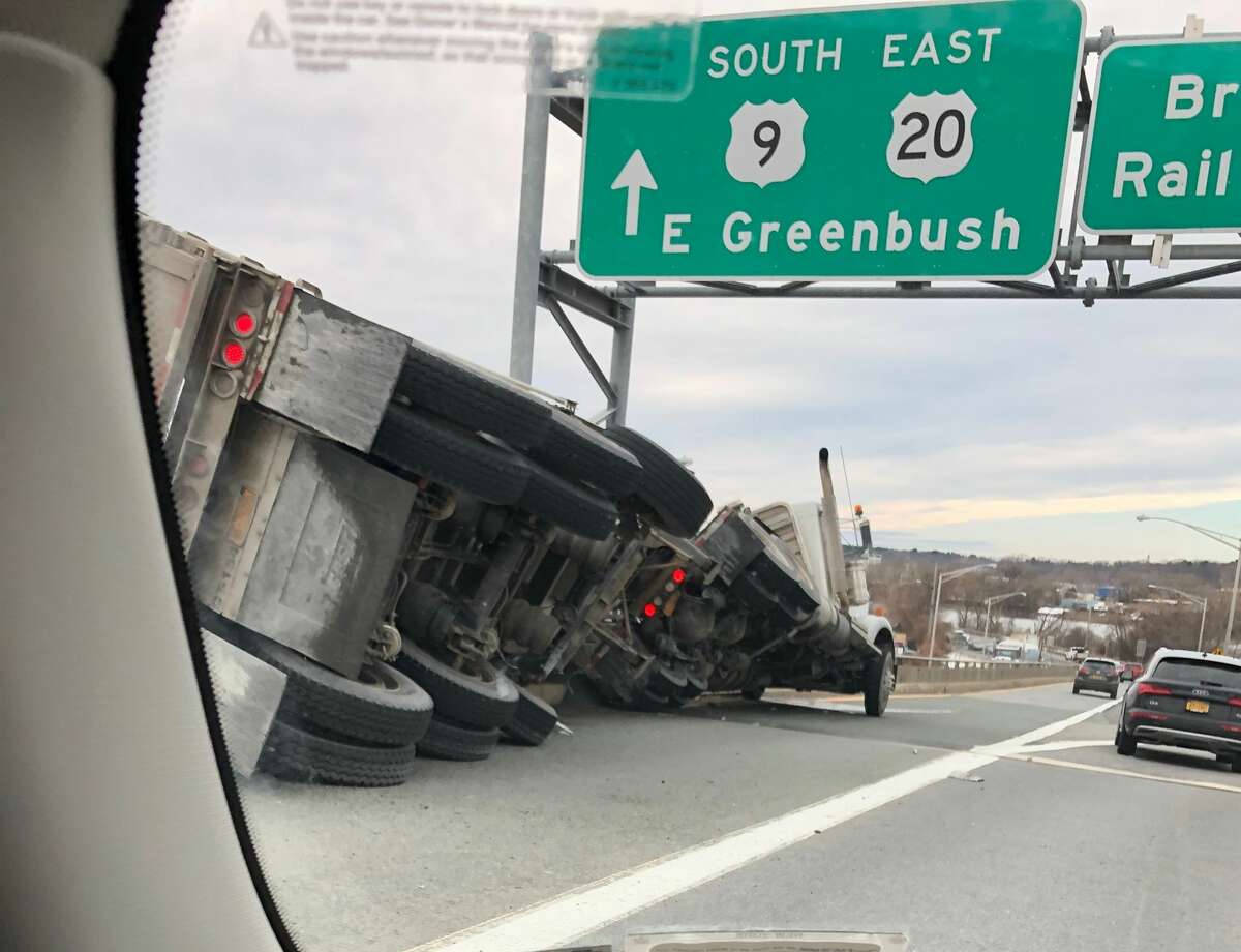 A tractor trailer rolled over Wednesday on the portion of the Dunn Memorial Bridge that links Albany to Rensselaer.