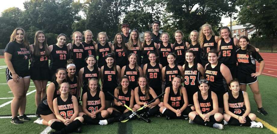 The Shelton field hockey team turned the corner this past season. The Gaelettes countered a 0-2 start to the season with a tie and two victories. Leading Shelton (front row) were Lillian Marini, Katie Bergers, Tiffany Montoya, Lucy Persson, Bailey Ovesny, Lilly Morgan, and Kendyll Flamini; (second row) Jackie Jenco, Avalina Maurati, Sammy Rago, Mya Merenda, Brooke Muller, Caroline Richmond, Zoey Pezo-Candelario, Rylee Russo and Sammie Smalick; (third row) Ashley Kearns, Victoria Stawiarski, Rachel Brown, Keira O'Connor, Rachel Kiman, Mia Dioguardi, Maeve Marks, Captain Gianna Maurati, Mary Falsetti, Cate Santa, Amelia Nankervis, Captain Emily Zerella, Amanda Kiman, Emma Gabriel and Maddie Cyr; (fourth row) assistant coach Bill Maloney and head coach Jeff Napoli. Missing from the photo are Ava Gigliotti, Ella Winfield and Erin Kovarczi. Photo: Contributed Photo / Shelton High Athletics / Shelton Herald