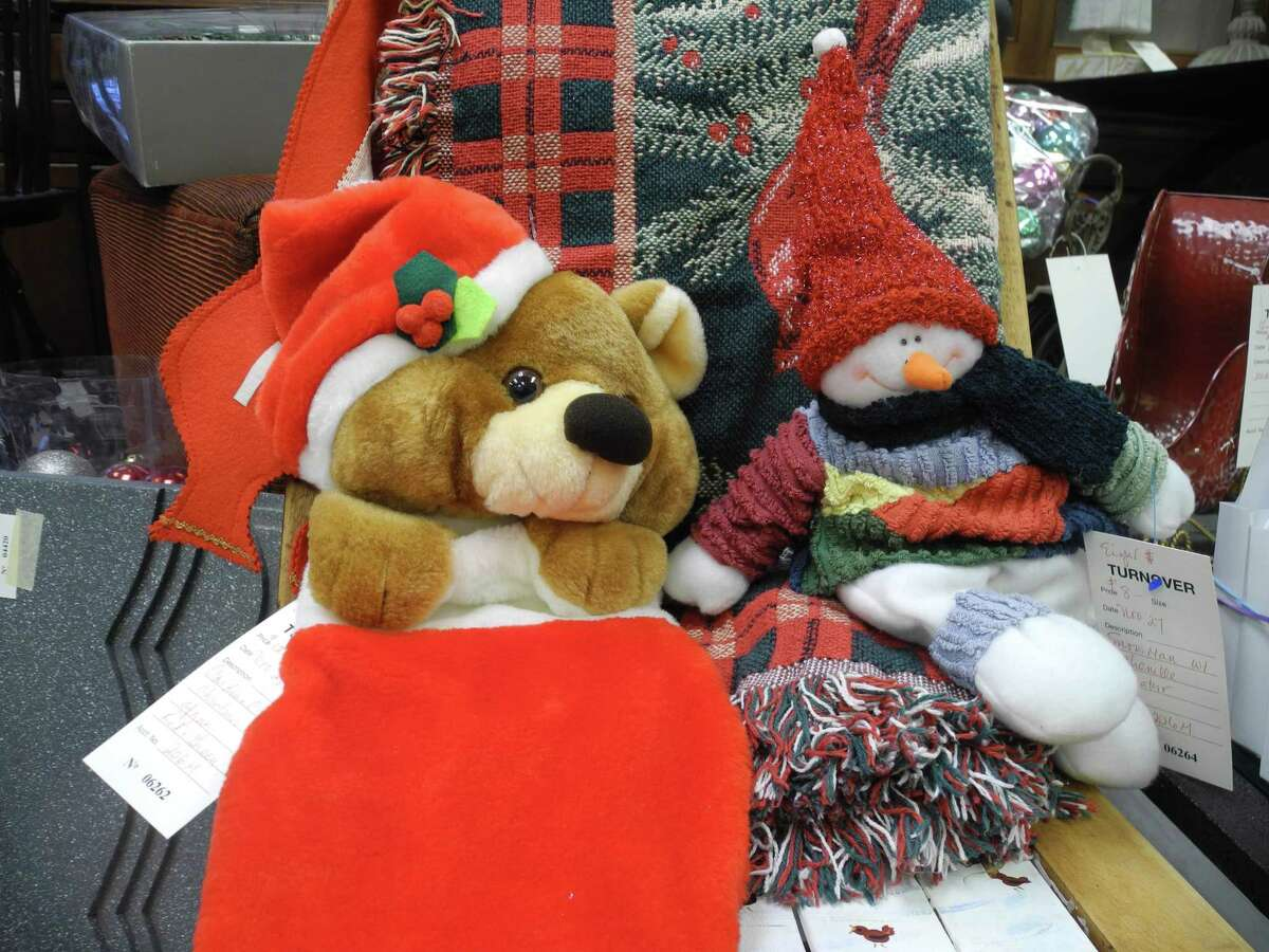 A plush bear and jolly snowman could be found at the Turnover Shop in Wilton.