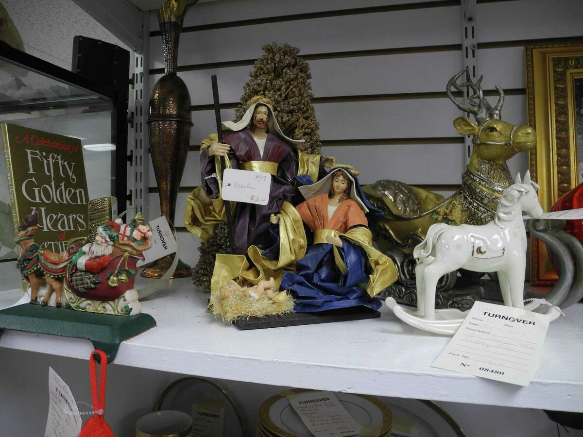 A nativity set sits on the shelf at the Turnover Shop in Wilton, Conn., in December 2019.