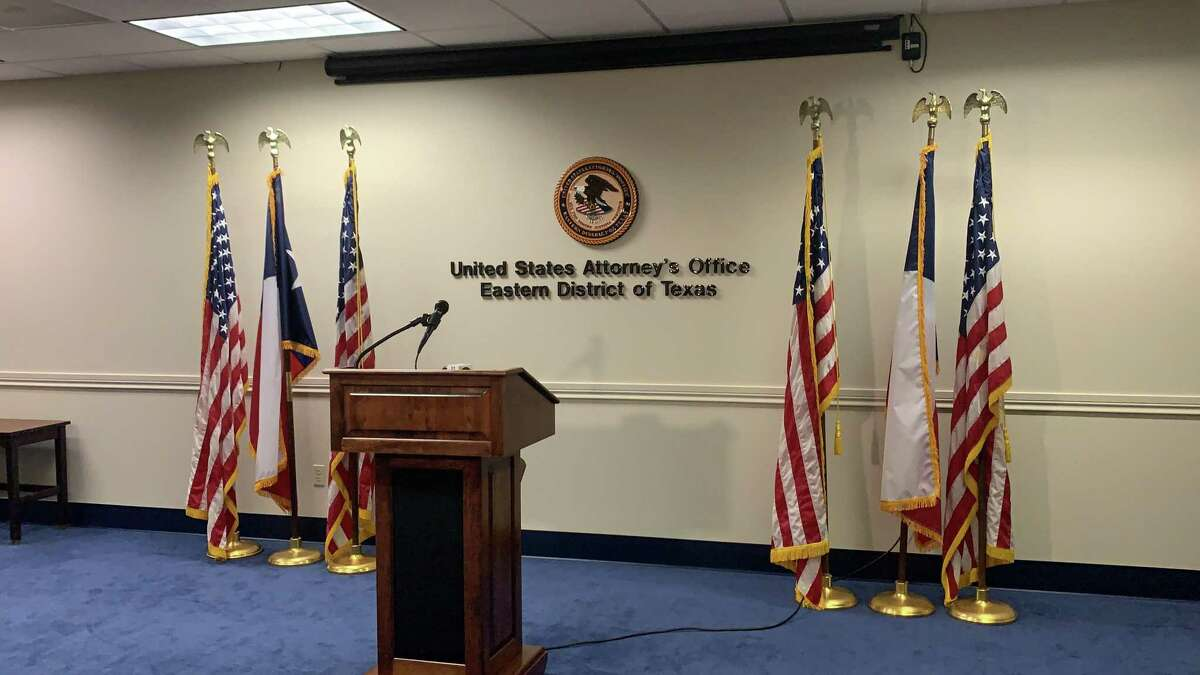 A podium in a media room at the Eastern District of Texas in the U.S. Attorney's office.