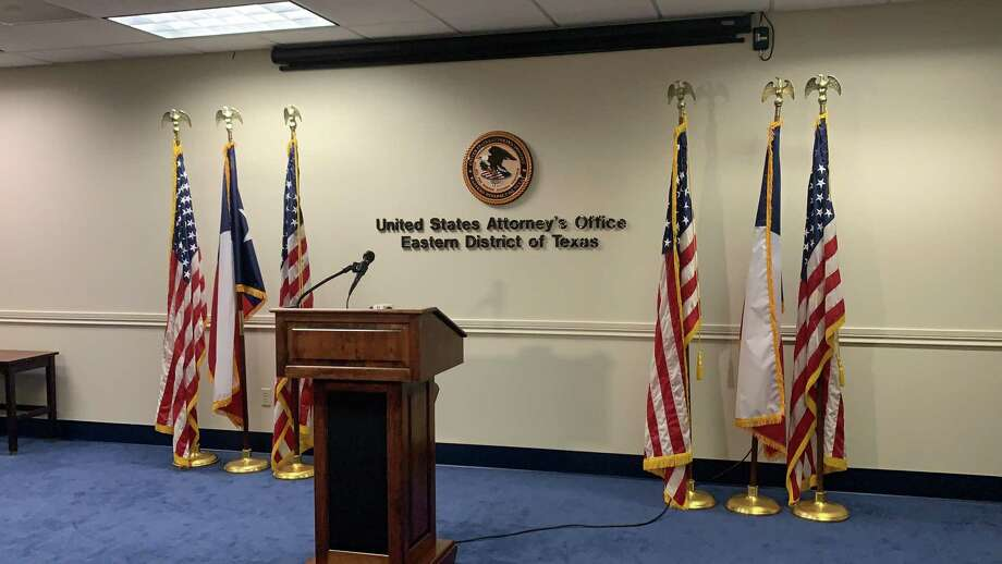A podium in a media room at the Eastern District of Texas in the U.S. Attorney's office. Photo: Isaac Windes