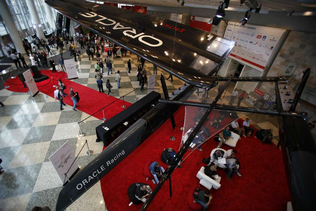An Oracle Racing AC45 Catamarans is shown above at the entrance of 2011 OpenWorld Conference on October 2, 2011 at the Moscone Center in San Francisco.