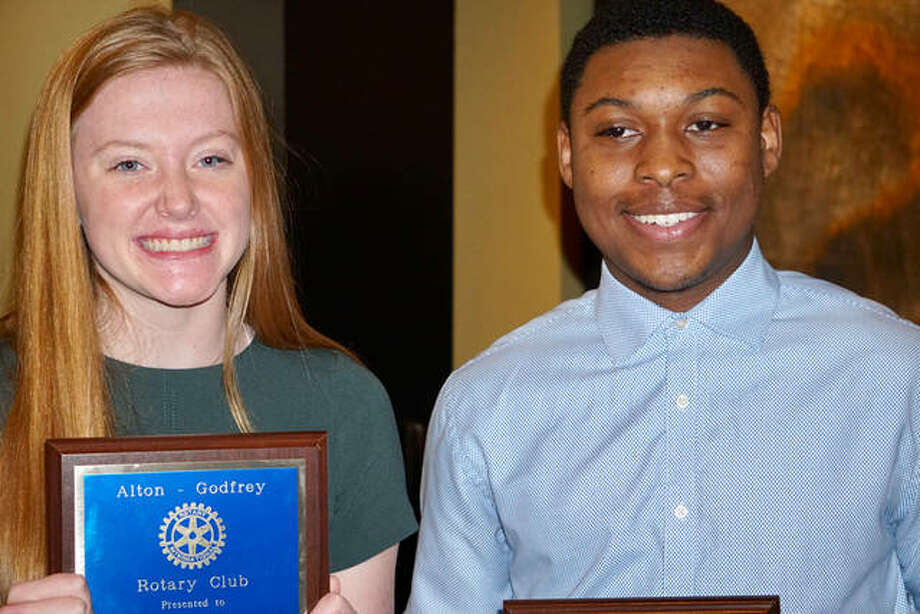 "Grace E. Napp, left, and Ki Juan ""Iggy"" McGee were honored Dec. 9 as the Alton Godfrey Rotary December Students of the Month. Napp attends Alton High School. McGee attends Marquette Catholic High School."
