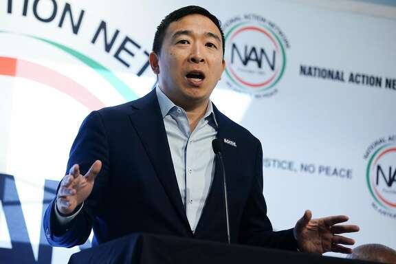ATLANTA, GA - NOVEMBER 21: U.S. Democratic presidential candidate Andrew Yang speaks at the National Action Networks Southeast Regional Conference on November 21, 2019 in Atlanta, Georgia. The previous day candidates participated in the fifth Democratic primary debate of the 2020 presidential campaign season in Atlanta, Georgia. (Photo by  Elijah Nouvelage/Getty Images)