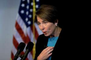 Massachusetts Attorney General Maura Healey takes questions from members of the media during a news conference, Monday, Sept. 16, 2019, in Boston. Massachusetts and 23 other states filed in federal bankruptcy court on Dec. 9, 2019 a report that said at least 53 people, who had been prescribed Purdue opioids, died from opioid overdoses in Massachusetts in the first half of 2019.