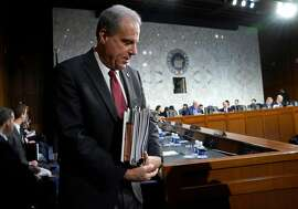 Michael Horowitz, inspector general for the Justice Department, returns for testimony following a short break before the Senate Judiciary Committee in the Hart Senate Office Building on December 11, 2019 in Washington, DC. Horowitz is answering questions regarding the report he released Monday on the FBIs investigation into possible connections between Russian interference in the 2016 presidential election and the Trump campaign.
