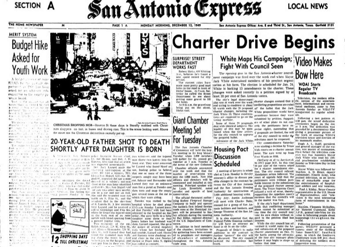 Front page of the San Antonio Express News on December 11, 1949.