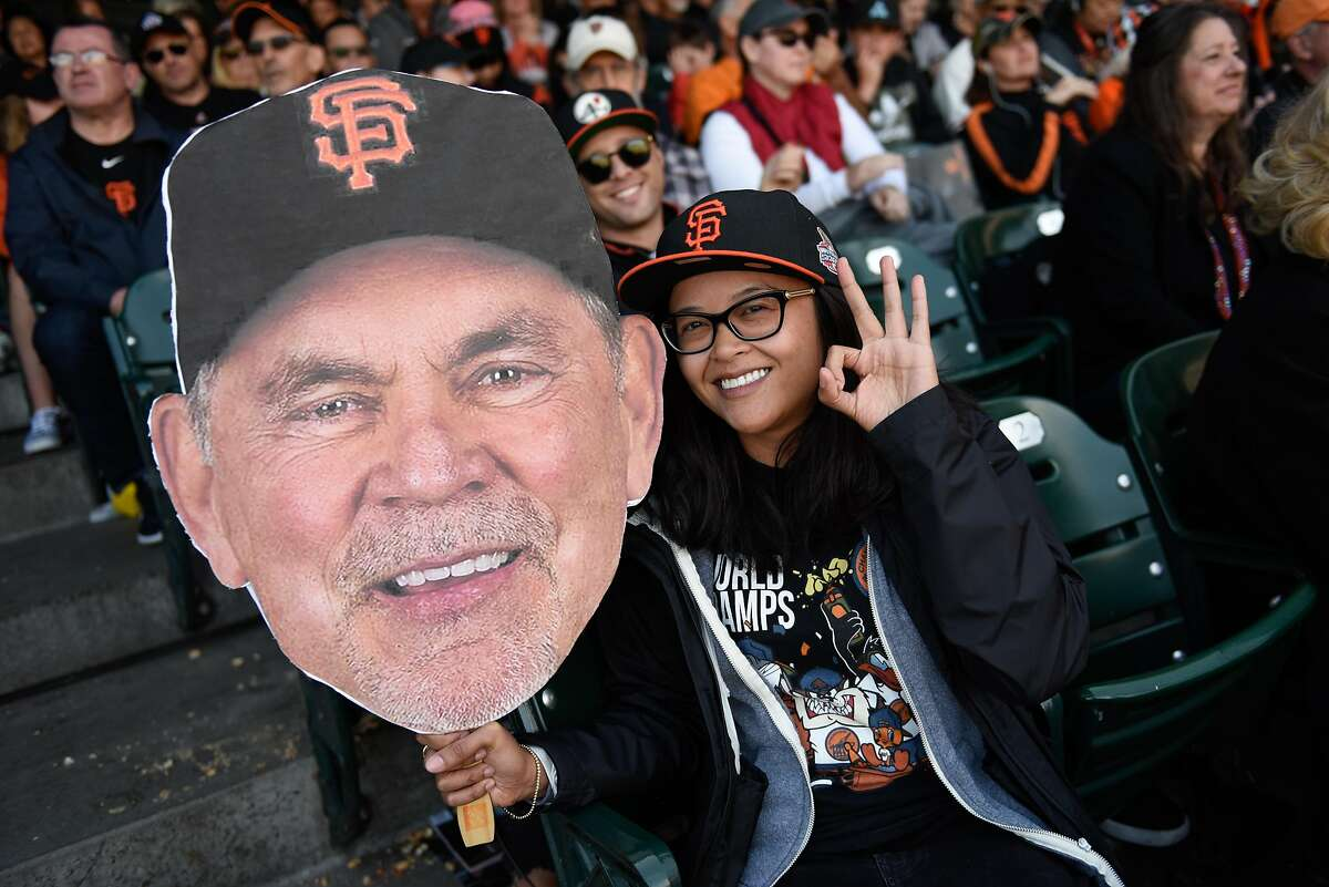 Jessica Atup celebrating Giant's managing coach Bruce Bochy final game at Oracle Park on September 29, 2019 in San Francisco, Calif.