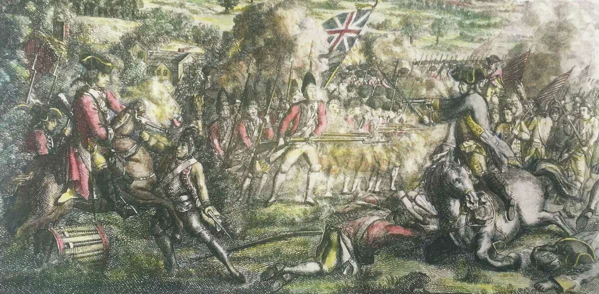 """This Revolutionary War painting depicts """"a skirmish in American betwen the King's troops and Genl. [Benedict] Arnold"""" at the Battle of Ridgefield."""