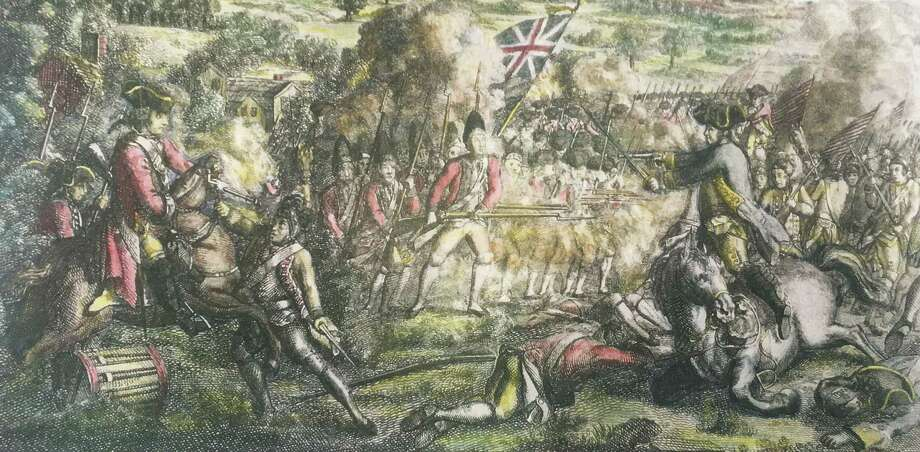 "This Revolutionary War painting depicts ""a skirmish in American betwen the King's troops and Genl. [Benedict] Arnold"" at the Battle of Ridgefield. Photo: Ridgefield Historical Society / Contributed Photo"