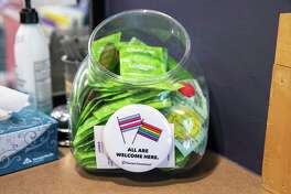 A container of condoms at a Planned Parenthood clinic.