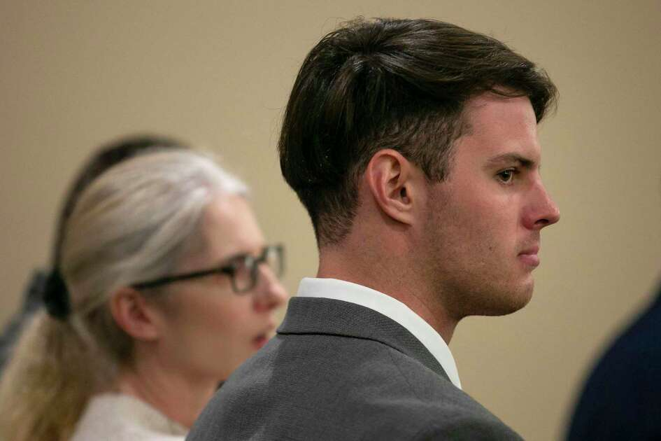 Mark Howerton, of Tyler, sits with his parents as they wait for proceedings in his murder trial to begin on Wednesday, Dec. 10, 2019. He is accused of killing, kidnapping and sexually assaulting Cayley Mandadi, a Trinity University student, cheerleader and sorority member.