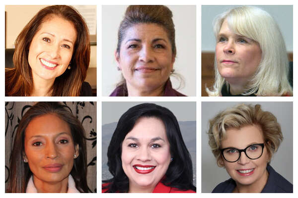 Clockwise from bottom left: Republican Melissa Esparza-Mathis is running in Congressional District 8; Republican Maria Espinoza is running in Congressional District 7; Republican Ava Pate is running in Congressional District 18; Republican Cindy Siegel is running in Congressional District 7; Republican Kathaleen Wall is running in Congressional District 22; and Republican Alia Ureste is running in Congressional District 23.