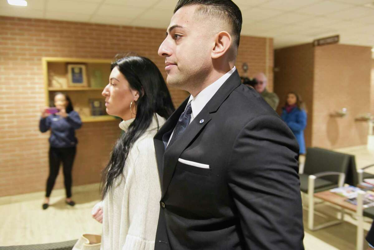 Nauman Hussain walks into the Schoharie County Court for a pre-trial hearing on Tuesday, Dec. 11, 2019, in Schoharie, N.Y. Hussain is the operator of the company that owned the limousine that crashed in Schoharie County last year, killing 20 people. (Paul Buckowski/Times Union)