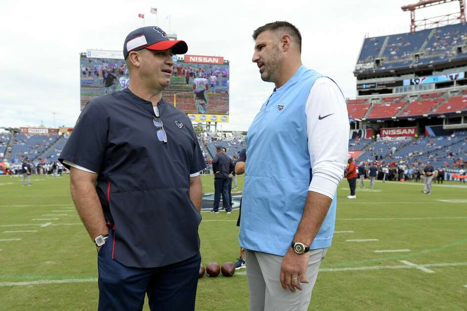 Texans coach Bill O'Brien and former assistant Mike Vrabel will match wits with first place in the AFC South at stake Sunday in Nashville.