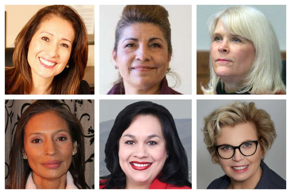 Clockwise from bottom left: Melissa Esparza-Mathis is running in Congressional District 8; Maria Espinoza is running in District 7; Ava Pate is running in District 18; Cindy Siegel is running in District 7; Kathaleen Wall is running in District 22; and Alia Ureste is running in District 23.