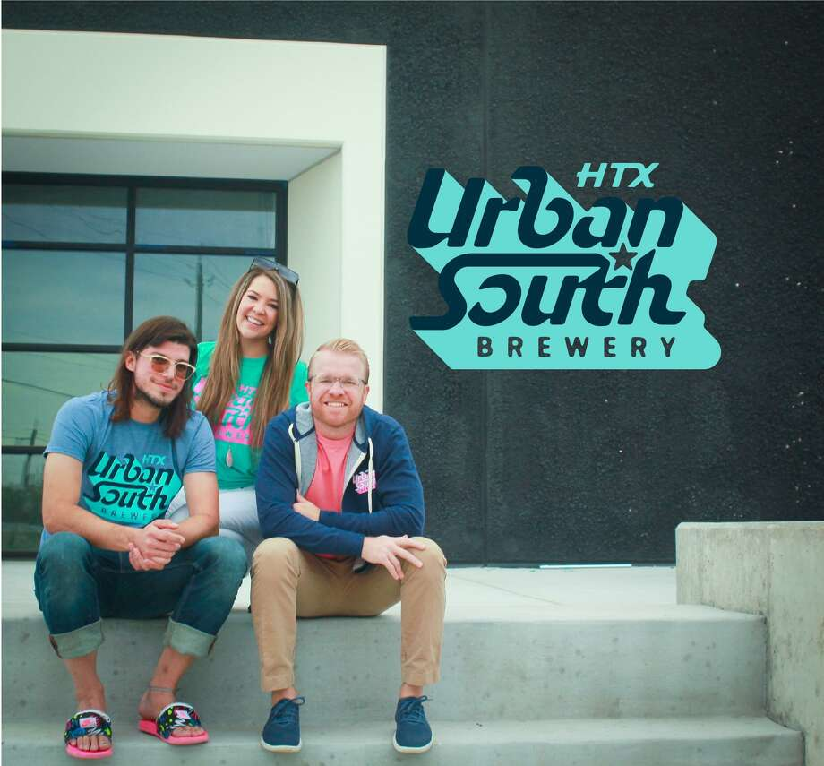 Justin (left) and Marin (center) Slanina and Dave Ohmer (right) make up the team leading the way at Urban South Brewery HTX in Sawyer Heights. Photo: Courtesy By Marin Slanina