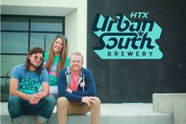Justin (left) and Marin (center) Slanina and Dave Ohmer (right) make up the team leading the way at Urban South Brewery HTX in Sawyer Heights. The brewery is set to bring innovative, R&D brews to Houston starting in January 2020.