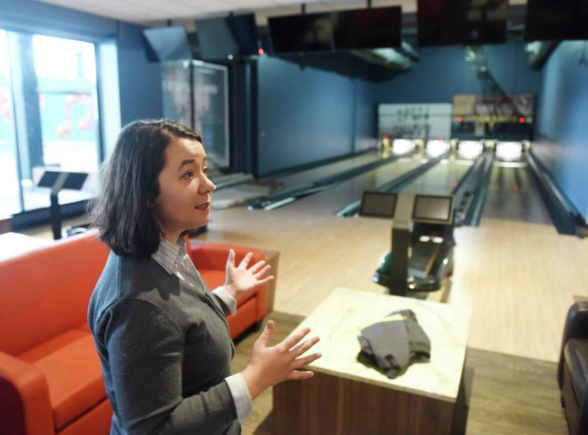 Pinstripes manager Megan Salisbury in December 2019 at the Pinstripes restaurant, bowling and bocce destination at The SoNo Collection mall in South Norwalk, Conn.