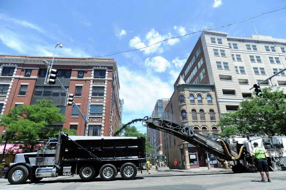 Main St. gets worked on during a large street-paving initative in downtown Stamford, Conn. on Tuesday, June 19, 2018. Photo: Michael Cummo / Hearst Connecticut Media / Stamford Advocate