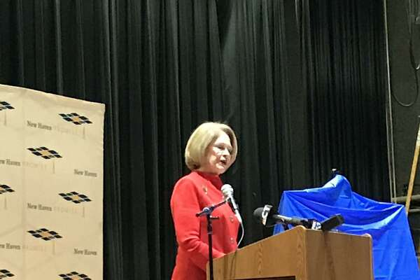 Marna Borgstrom, president and chief executive officer of Yale New Haven Health, speaks to James Hillhouse High School students Wednesday in New Haven.
