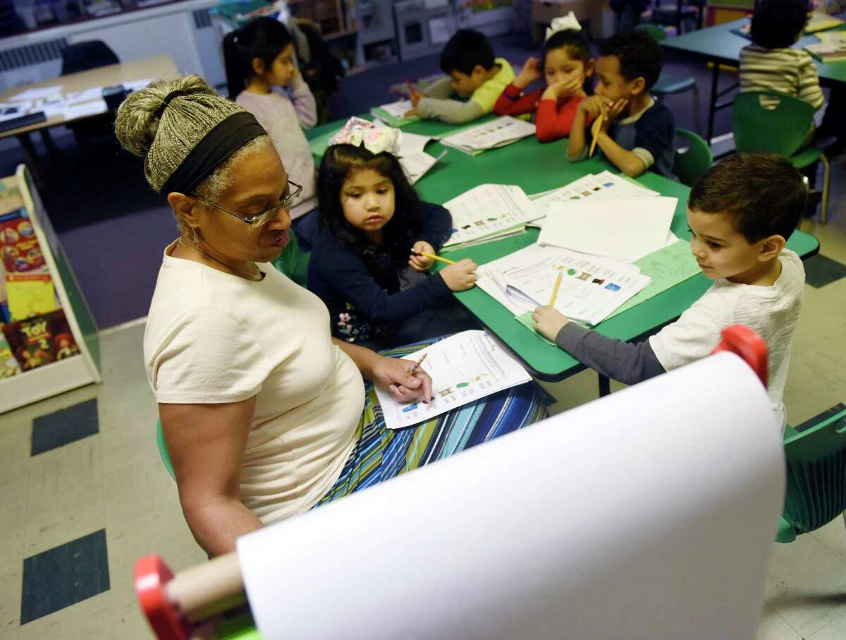 Head teacher Kim Folston teaches her students at Family Centers' Family First in Education program at the YMCA Early Learning Center in the Chickahominy section of Greenwich, Conn. Tuesday, Jan. 29, 2019.