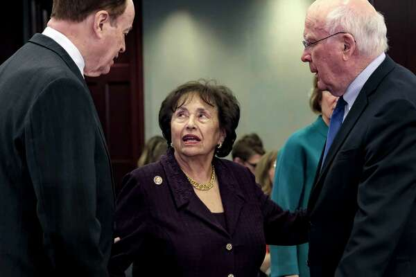 Rep. Nita Lowey, D-N.Y., speaks with Sen. Richard Shelby, R-Ala., left, and Sen. Patrick Leahy, D-Vt., in January 2018.