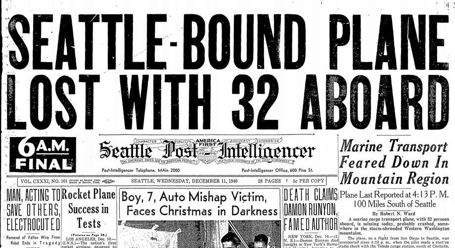 The front page of the Seattle Post-Intelligencer on Wednesday, Dec. 11, 1946. Photo: SeattlePI Archives