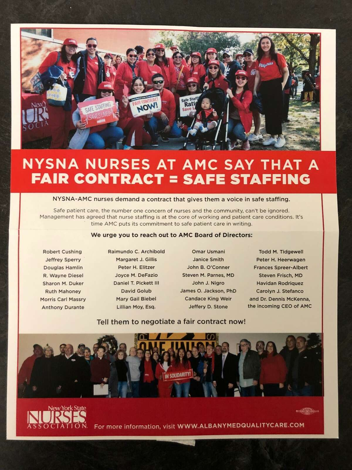 The flyer pictured here was distributed to guests and on cars at Albany Medical Center's annual Dancing in the Woods gala, held at Vent Fitness in Latham, N.Y. on Friday, Dec. 6, 2019.